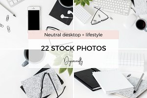 Neutral styled desktop stock photos