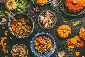 Vegetarian pumpkin stew, rustic