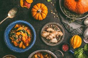 Vegetarian pumpkin stew with spinach