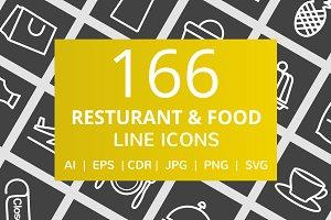 166 Restaurant & Food Line Icons