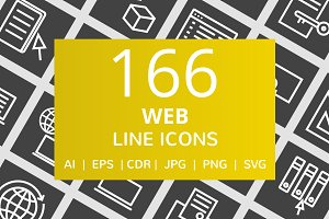 166 Web Line Inverted Icons