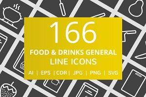 166 Food & Drinks General Line Icons