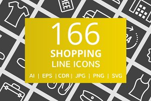 166 Shopping Line Inverted Icons