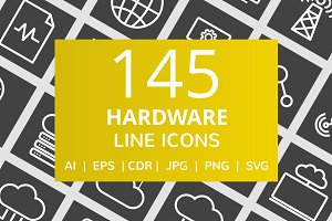 145 Hardware Line Inverted Icons