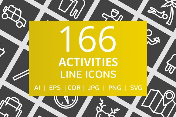 166 Activities Line Inverted Icons