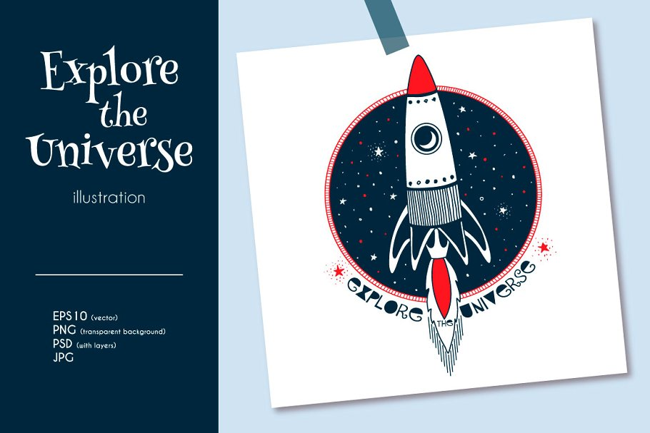 Rocket in Open Space in Illustrations - product preview 8
