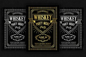 Whiskey Night Party Flyer