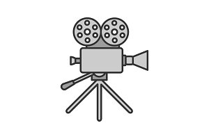 Movie camera color icon