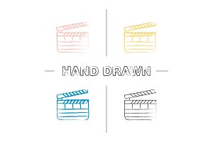 Clapperboard hand drawn icons set