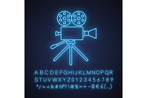 Movie camera neon light  icon