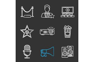 Cinema chalk icons set