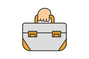 Hand holding tool bag color icon