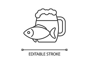 Beer mug with salty fish linear icon