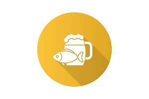 Beer mug with salty fish icon