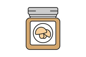 Canned mushrooms color icon