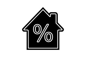 Mortgage interest rate glyph icon