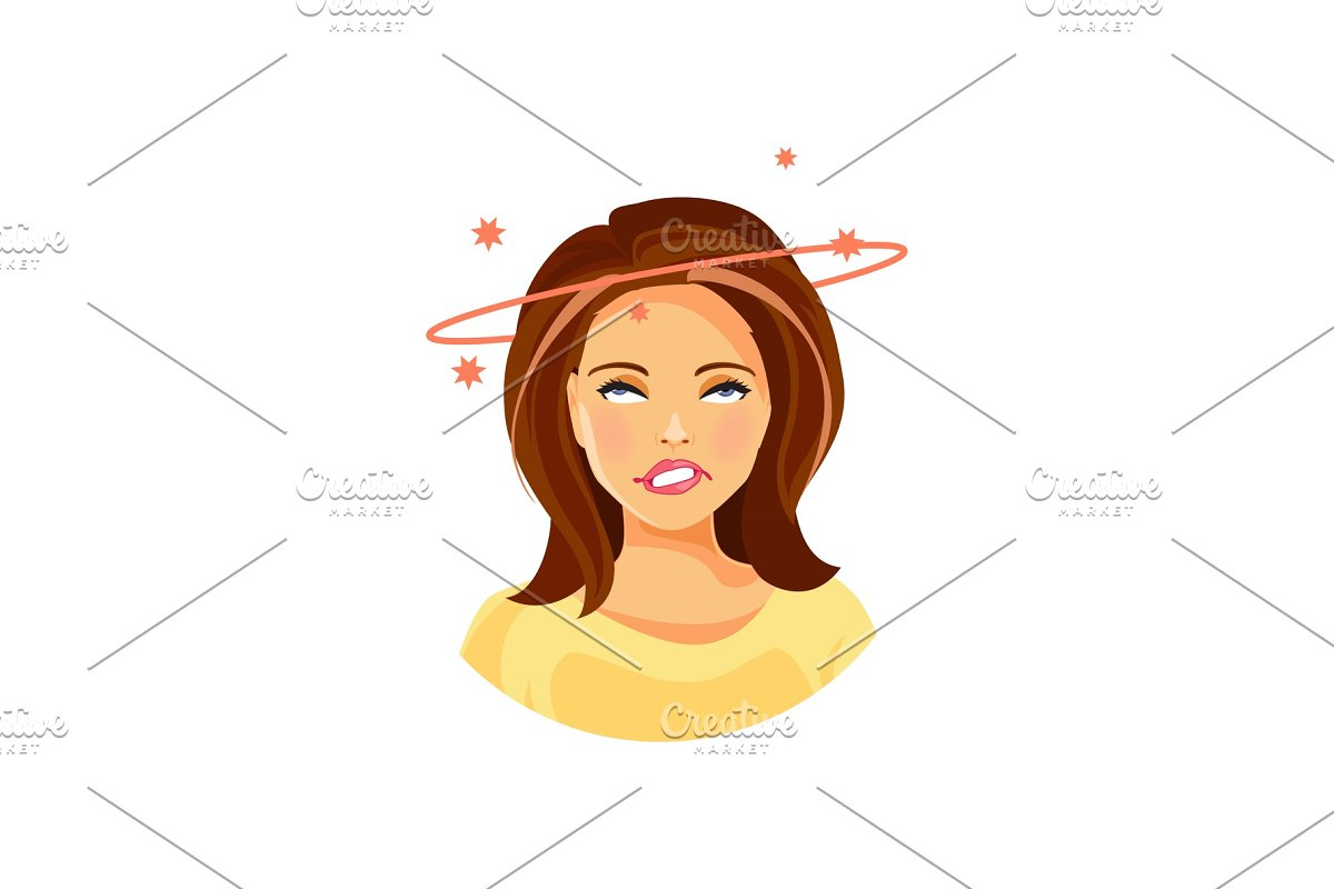 Girl with dizziness in Illustrations - product preview 8