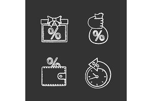 Percents chalk icons set