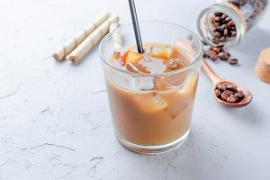 Iced coffee in glass with ice
