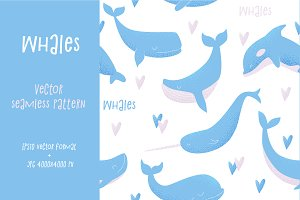 Vector seamless pattern with whales