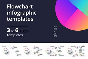 3-6 step circular infographics