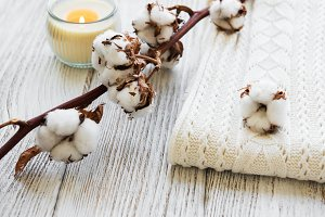 Cotton flowers and scarf