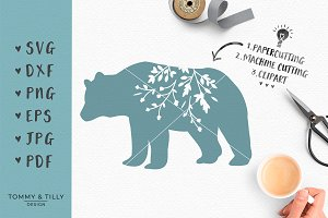 Floral Bear Silhouette - SVG Clipart