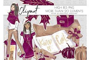 luxury fall clipart, planner girl