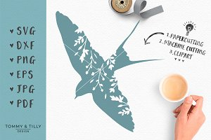 Floral Bird - SVG Cut File & Clipart