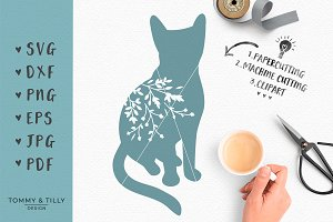 Floral Cat - SVG Cut File & Clipart
