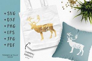 Floral Deer - SVG Cut File & Clipart