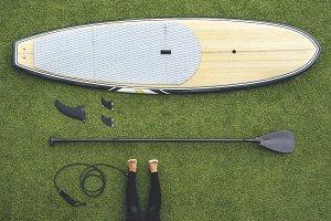 Paddle surf still life, paddle board