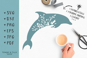 Floral Dolphin -SVG Cut File Clipart