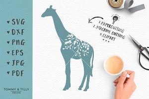 Floral Giraffe -SVG Cut File Clipart