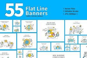 Set of Flat Line Web Banners