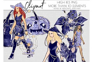 halloween clipart, navy witch beast