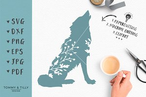 Howling Wolf Silhouette -SVG Clipart