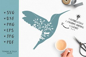 Floral Hummingbird - SVG & Clipart