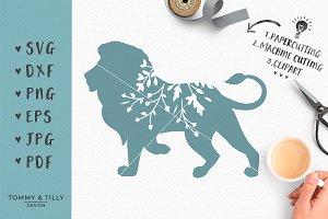 Floral Lion Silhouette - SVG Clipart