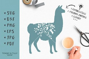 Floral Llama Silhouette -SVG Clipart