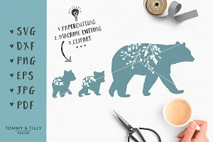 Mama Bear Silhouette - SVG Clipart