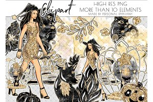 glam witch halloween clipart, beast
