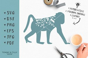 Monkey Silhouette - SVG Clipart
