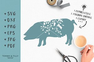Pig Silhouette - SVG Cut & Clipart
