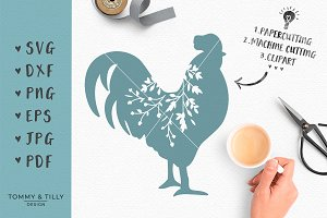 Rooster Silhouette - SVG & Clipart
