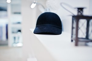 Close-up photo of a black cap on the