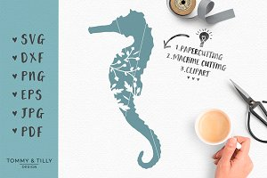 Seahorse Silhouette - SVG & Clipart