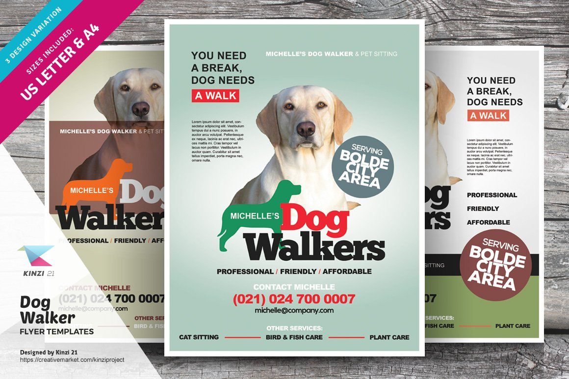 Dog walker flyer templates flyer templates creative market maxwellsz