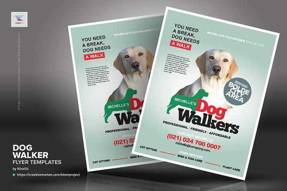 Dog Walker Flyer Templates Flyer Templates Creative Market