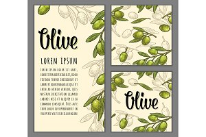 Seamless pattern olives on branch